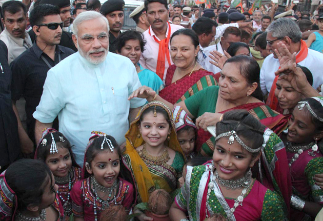 Modi with children