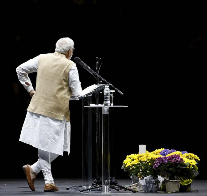 Indian Prime Minister Narendra Modi gestures during a community reception in San Jose, California
