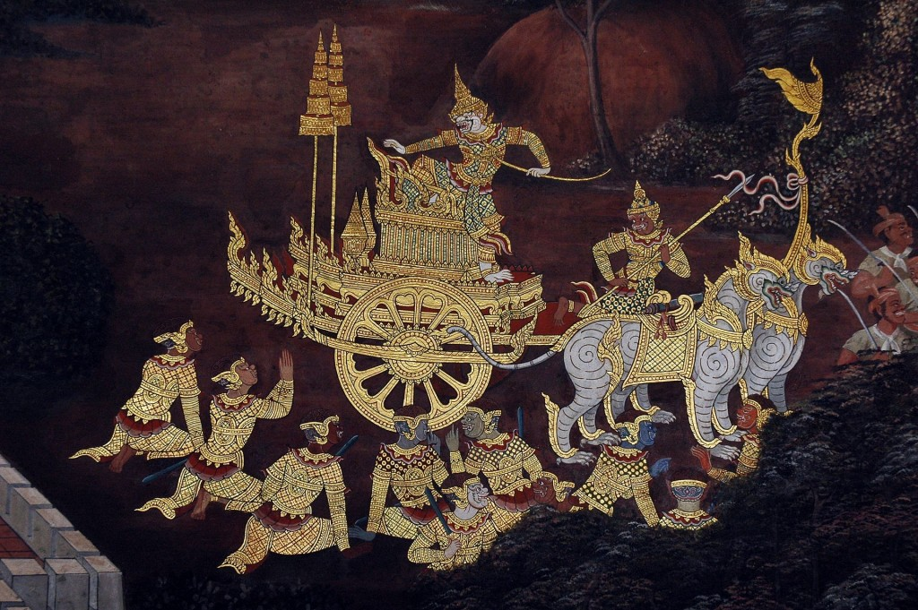 Hanuman on his chariot, a scene from the Ramakien in Wat Phra Kaew, Bangkok (courtesy: Wikimedia commons)