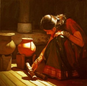 dravidian-woman-painting-by-silayaraja